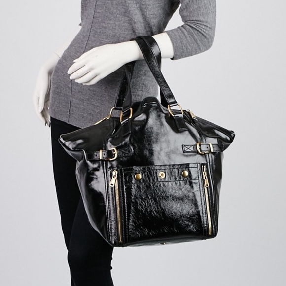 45c6b9f470b Yves Saint Laurent Bags | Genuine Ysl Black Patent Leather Downtown ...
